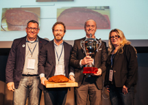 Vinnare i Innovativa klassen 2014 - Rostbiff bake off från Direkt Chark. Från vänster på bilden: Stefan Johansson, Martin Pardell, Dan Melin och Sandra Durholm